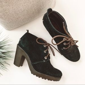 Sperry Princeton Suede Heeled Ankle Boots Black